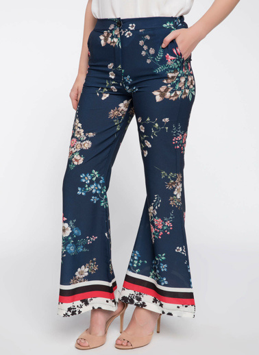 DeFacto Çiçek Desenli İspanyol Paça Saten Pantolon Mavi